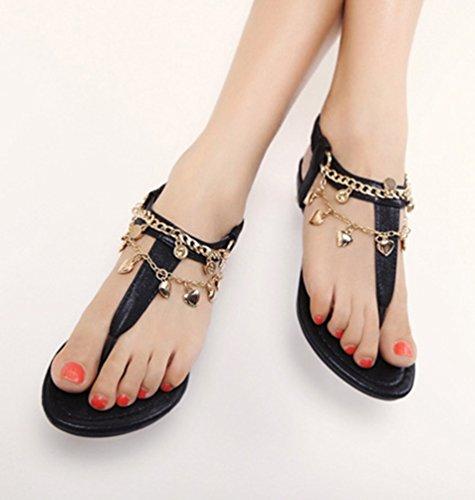 NiSeng Mujer Casual T-Strap Sandalias Bohemia Peep Toe Sandalias Piso Playa Sandalias Negro