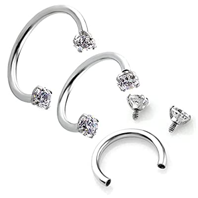 PiercingJ 2pcs 16G Clear Cubic Zirconia Stainless Steel Horseshoe Hoop Multi-functional Captive Ring for Nose Daith Lip Eyebrow Nipple Ear Cartilage Helix Septum