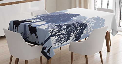 Ambesonne Moose Tablecloth, Gray Forest Design Abstract Woods North American Wild Animals Deer Hare Elk Trees, Dining Room Kitchen Rectangular Table Cover, 60 X 84 inches by Ambesonne