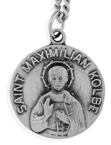 Venerare Pewter Saint Medal with Traditional Prayer Card (Saint Maximilian Kolbe)