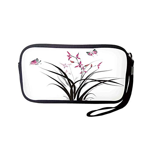 Neoprene Wristlet Wallet Bag,Coin Pouch,Butterflies,Chinese Orchid and Butterfly Exotic Wild Mysterious Ink Style Print Home,Pink Brown Cream,for Women and Kids ()