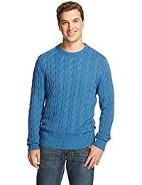 Merona Men's Crew Neck Cable Knit Sweater Hoya Blue Tm