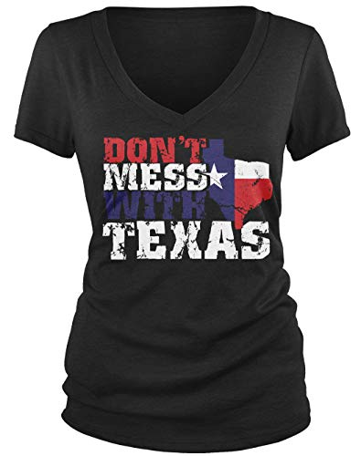Amdesco Junior's Don't Mess with Texas V-Neck T-Shirt, Black XL