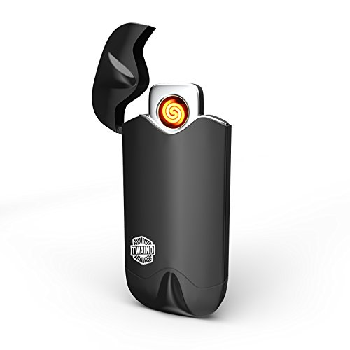 TWAINO Rechargeable USB Lighter – Flameless, Windproof, Weatherproof Electronic Dual Arc – No Fuel or Gas Required – Use for Cigarettes, Camping or Travel (Black)