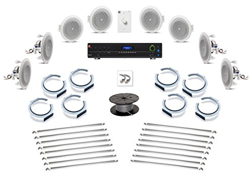 - JBL 8124 In-Ceiling Loudspeaker Bundle with JBL VMA160 60W 5-Channel Bluetooth Enabled Mixer Amplifier and Installation Hardware - Restaurant Sound System (8 Speakers, White)