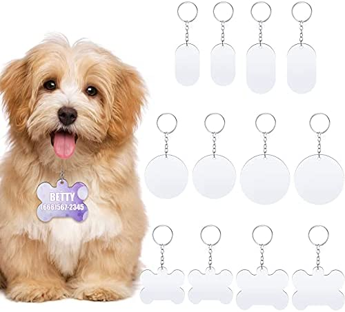 12 Pieces Sublimation Blank Dog Tag White Blank Craft Key Chain Dog Tag Custom Double Sided Pet Tags for Dogs Cats Personalized for Your Pet