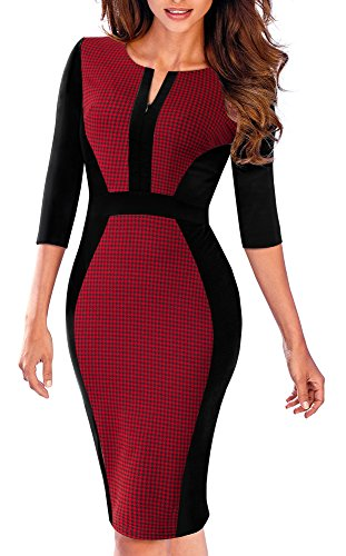 Sheath Vintage Dress Houndstooth to Wear Red Work Women's HOMEYEE B409 wCq5nx1C