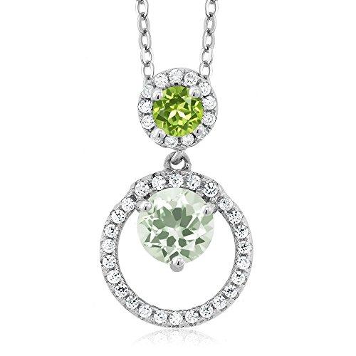 1.85 Ct Round Green Amethyst Green Peridot 925 Sterling Silver Pendant (Peridot Amethyst Pendant Stone 3)