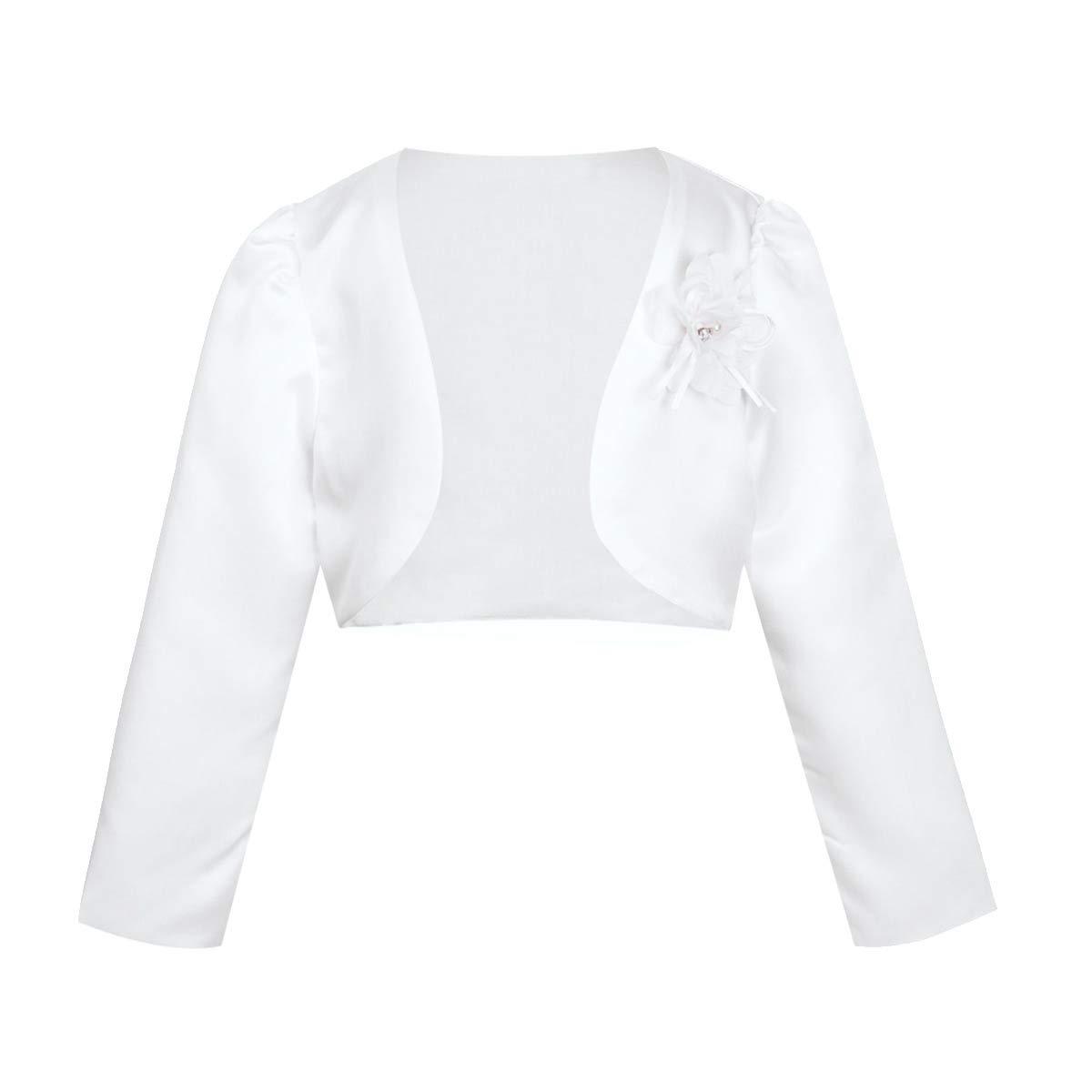 Alvivi Kids Girls Long Sleeve Beaded Satin Bolero Shrug Jacket Short Cardigan Wedding Party Flower Dress Cover up White 5-6