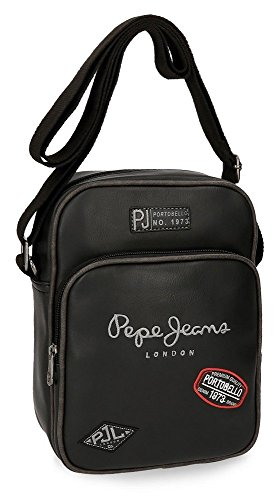 Pepe Jeans Duetone Borsa Messenger, 25 cm, 2.93 liters, Nero (Negro)