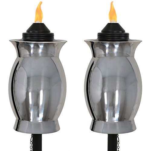 Sunnydaze Stainless Steel Outdoor Torches with Black Snuffer, Metal Patio Citronella Torch, 23- to 65-Inch Adjustable Height, 3-in-1, Set of 2 by Sunnydaze Decor