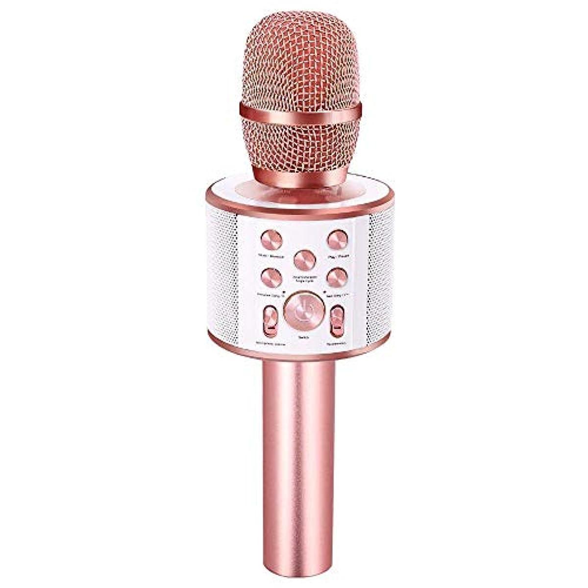 [해외] Verkstar Bluetooth 노래방 마이크 블루투스 무선 듀엣 & 반주 기능 로즈골드