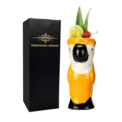 Parrot Mug Large - Tiki Mugs - Parrot Tiki Mug, 19oz / 550ml, Cocktail Mug for Mai Tai, Punch, Pina Colada, and Tropical bar Drinks