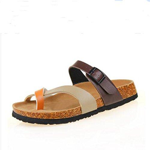 Leather Buckle Cross YaMiFan 14 Strap Summer Flat Double Womens Sandals Mayari Toe 7qw4gn4xSU