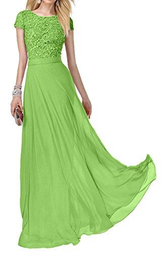 Lang Damen Abendkleider Grün Kurzarm Spitze Charmant Ballkleider Promkleider Abiballkleider Rosa Festlich 1wUqqS