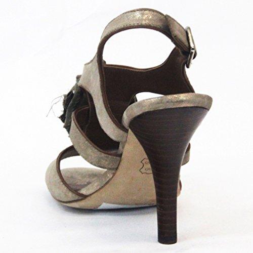 Juicy Couture Sandalia puntera abierta tacones de estilo con Volantes para mujer (Talla UK 3.5 Beige - beige