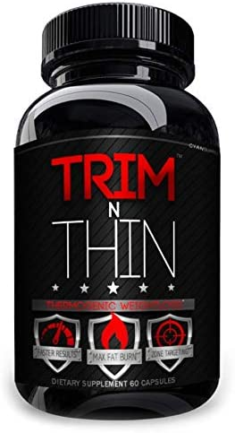 TRIM N THIN Thermogenic Weightloss Fast Acting Diet Pill Targeted Fat Burner Lose More Weight Define Muscles, Tone Body, Tighten Key Zones, Metabolism Booster USA Made