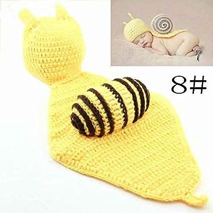 Lindo de la para bebé Atrezzo fotografía del recién nacido hecho a mano de ganchillo Beanie Hat ropa de bebé