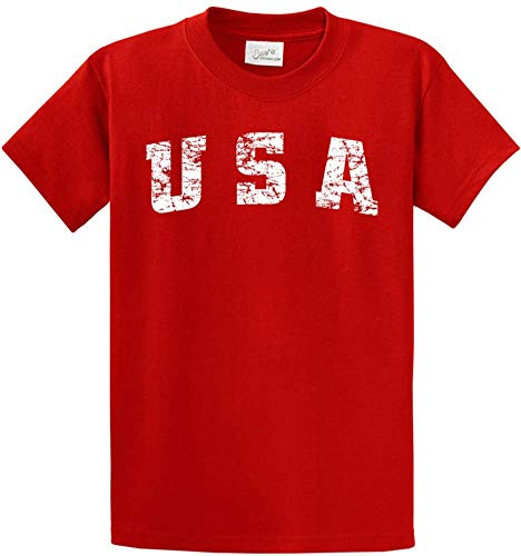 Joe's USA - Vintage USA Logo Tee T-Shirts in Size M Fiery Red
