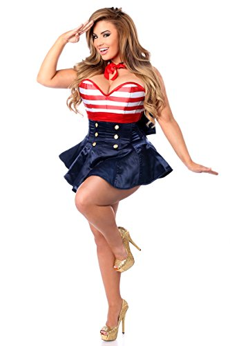 Daisy corsets Women's Top Drawer 2 Pc Pin-up Sailor Corset Dress Costume, Navy Blue, 2X]()