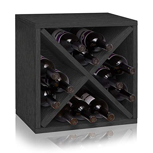 Way Basics Stackable 12-Bottle Tabletop Wine Rack Cube Storage, Black
