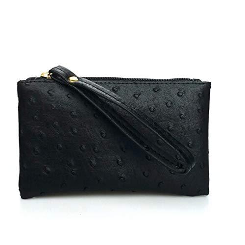 Rurah Ostrich Pattern Long Purse Key Coin Handbags Women Phone Bag Clutch Wristlet Zippers Organizer Wedding Party Evening Dress Bag,Black ()