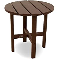 POLYWOOD RST18WH Round 18 Side Table, Mahogany