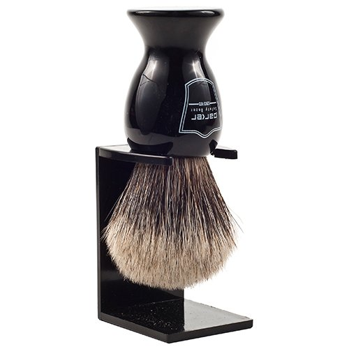 Parker Safety Razor 100% Pure Badger Bristle Shaving Brush with Black Handle - Brush Stand Included