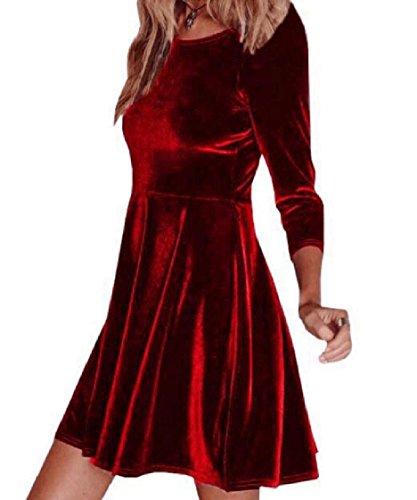 Coolred-femmes Balançoire Forme Classique Élégant Robes De Club En Velours Rouge Or Massif