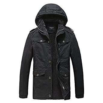 JYG Men's Winter Slim Fit Military Parka Jacket With Removable ...