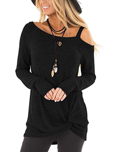 Twist Thin (Famulily Women's Casual Knot Side Twist Soft Cold Shoulder Long Sleeves Basic Blouse Tops Black S)