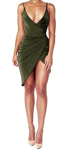 Manches Dos Nu Bodycon Night-club Fête Mini Robe De Vert De L'armée Du Cou V Profond Sexy Meilleures Femmes Habillées