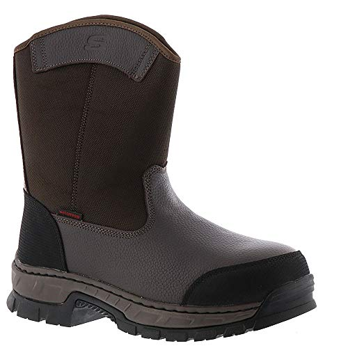 (Skechers Work Vinten Wibaux Comp Toe WP Mens Wellington Boot Brown 10)