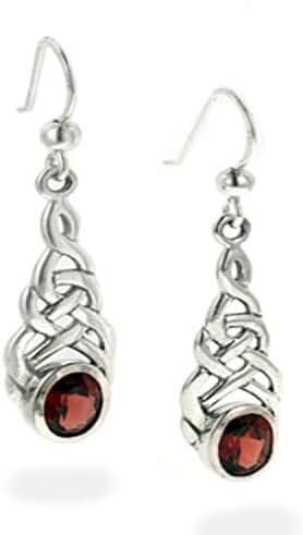 Sterling Silver Celtic Knot Simulated Garnet Hook Earrings