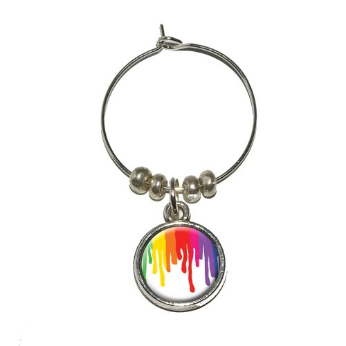 Graphics and More Rainbow Paint Drip - Pride Ink Colors Wine Glass Charm Drink Stem Marker Ring (Cabernet Sauvignon Ink)
