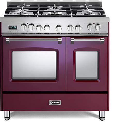 Verona Prestige Series VPFSGE365DBU 36 inch. Dual Fuel Range 5 Sealed Burners Double Oven Convection Storage Drawer Burgundy