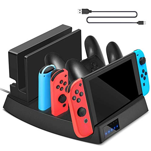 (Sunjoyco Controller Charger Compatible with Nintendo Switch Console/Joy-con/Pro Controller, 7 Port Charging Dock Stand Station)
