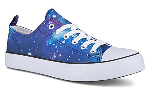 Gedraaide Dames Kix Lo-top Galaxy Print Casual Fashion Sneaker Blue Galaxy