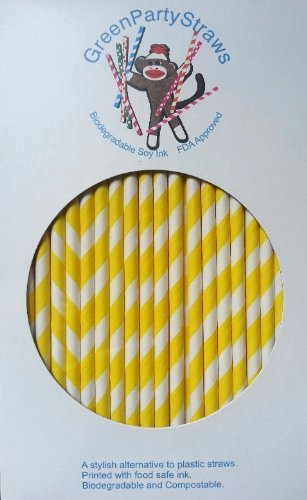 Paper Straws Box of 144 Yellow