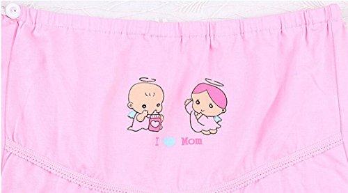 HorBous 2 Pack (J'adore Maman) Cartoon Femmes Coton Ajustable Haute Hauteur Maternité Sous-vêtements Culottes Breloques Bref Breveux Aléatoire Couleur Différente