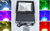 Led Flood Light Outdoor Indoor Spotlights 100W RGB Black finish flood light Come with Us Standard 3 Pin Plug, Waterproof IP 65 Color Changing Memory Function + Remote Control