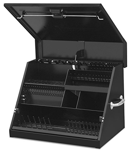 Montezuma - SE250B - 26-Inch Portable TRIANGLE Toolbox - Multi-Tier Design - Heavy-Duty Steel Construction - SAE and Metric Storage Chest - Weather-Resistant Toolbox - Lock and Latching System 26 Inch Steel Tool Box