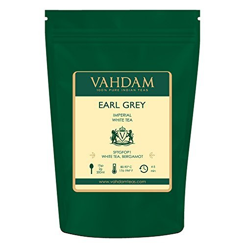 VAHDAM, Earl Grey Imperial White Tea Loose Leaf (25 Cups) | HEALTHIEST TEA, 100% NATURAL White Tea Leaves | POWERFUL ANTI-OXIDANTS | Loose Leaf Earl Grey Tea | Brew as Hot Tea or Iced Tea | 1.76oz
