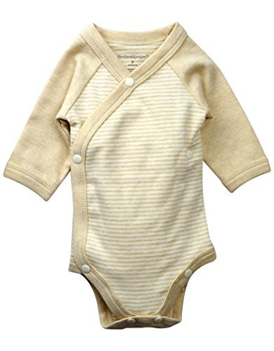 - DorDor & GorGor Baby Kimono Onesies, Organic Cotton, 3-6  Months, Brown Stripes