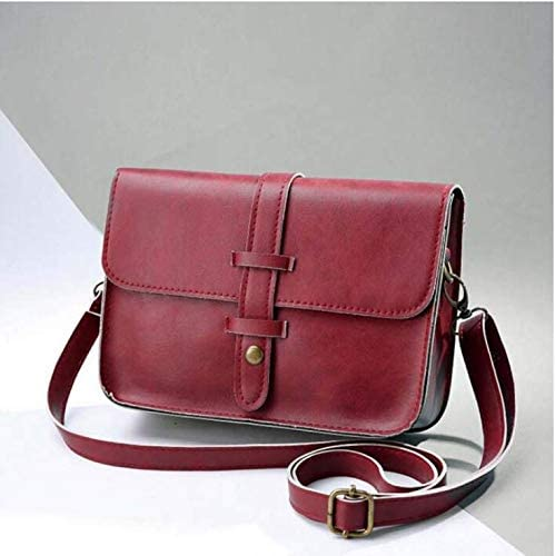 Fashion Vintage Leather Shoulder Messenger Bag,Outsta Women Cross Body Purse Bag Classic Casual Red
