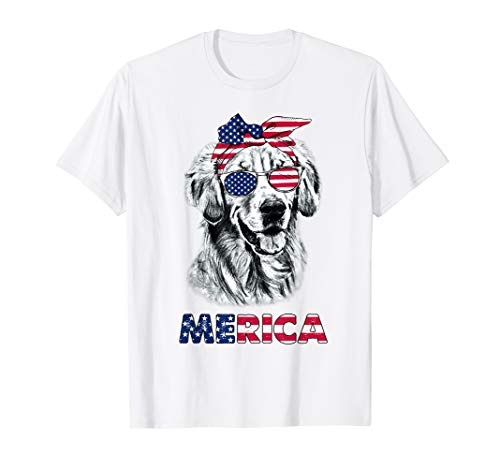 Merica Golden Retriever Tshirt USA Flag 4th Of July Gifts