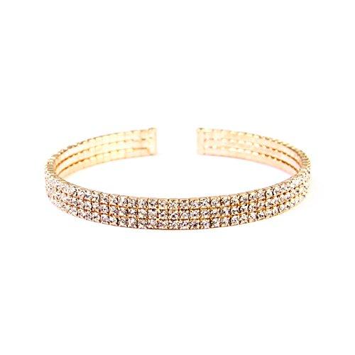 MYS Collection Riah Fashion Women's Rhinestone Open Cuff Bracelet - Bridal, Wedding, Prom, Party Bracelet (3 Row - Gold) ()