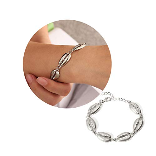 YOOE Bohemia Scalloped Shell Woven Bracelet. Adjustable Gold Silver Scallop Braided Rope Bracelet,for Women Girl's Jewelry (Silver 2)