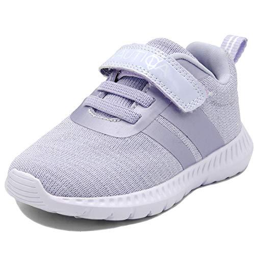 Nautica Kids Girls Fashion Sneaker Running Shoe Strap-Towhee Girls-Lilac Sparkle-6 (Nautica Padding)