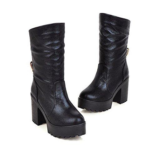 AllhqFashion Damen Hoher Absatz Blend-Materialien Niedrig-Spitze Rein Ziehen auf Stiefel Schwarz